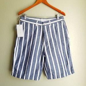 NWT Zara Man Cotton Blue White Stripe Shorts Sz 31